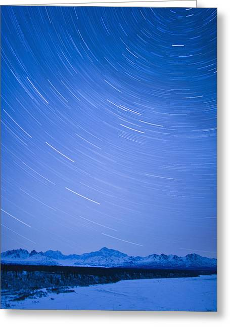Night Time View Of Star Trails Over Mt Greeting Card