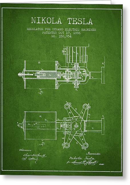 Nikola Tesla Patent Drawing From 1886 - Green Greeting Card by Aged Pixel