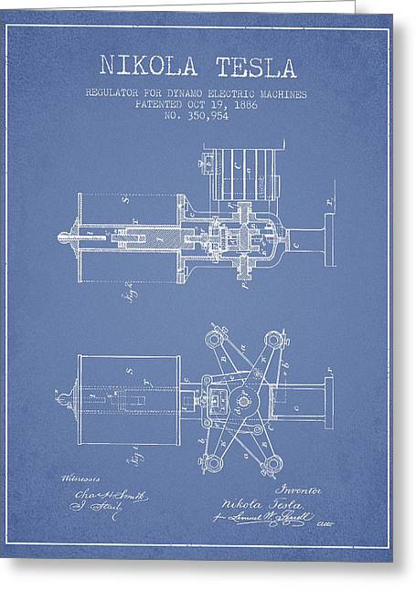 Nikola Tesla Patent Drawing From 1886 - Light Blue Greeting Card by Aged Pixel