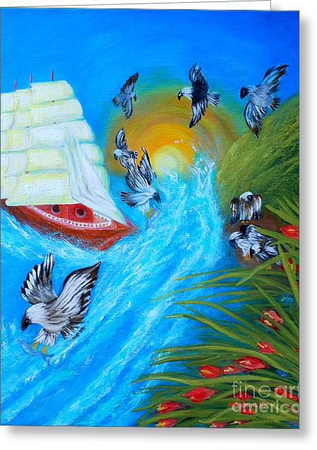 Nine Eagles For Success. Soul Collection Greeting Card