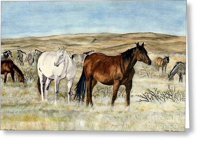 Nine Horses Greeting Card by Melly Terpening