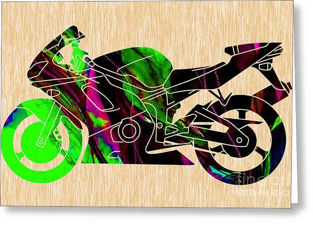 Ninja Motorcycle  Greeting Card by Marvin Blaine