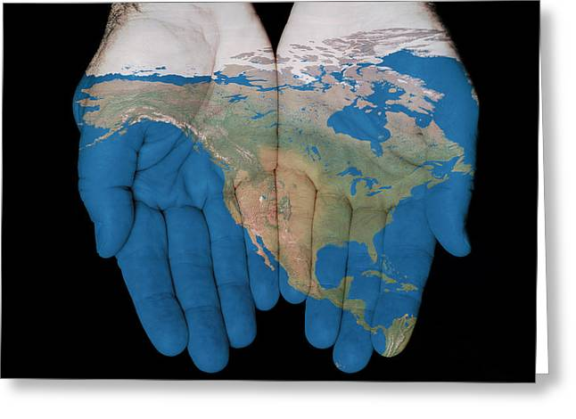 North America In Our Hands Greeting Card