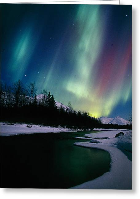 Northern Lights Over Portage River Greeting Card