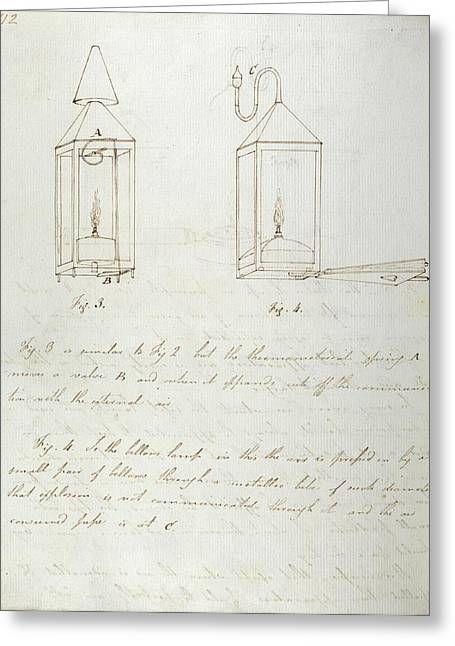 Notes On Davy Safety Lamp Greeting Card