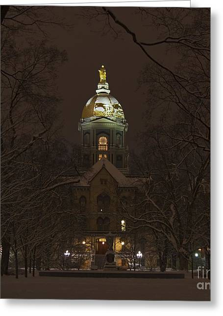 Notre Dame Golden Dome Snow Greeting Card