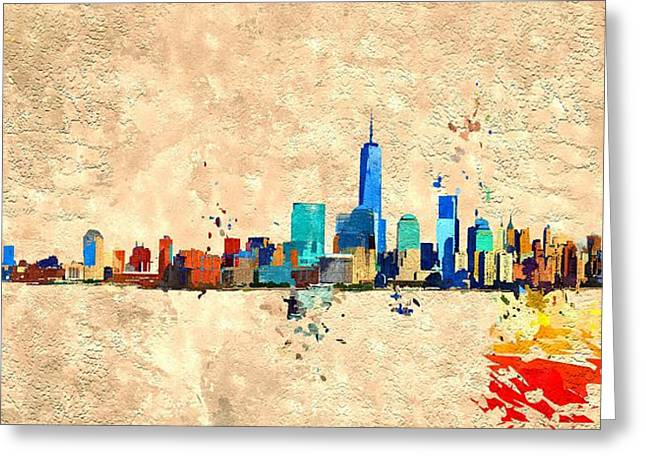 Nyc Grunge Greeting Card by Daniel Janda