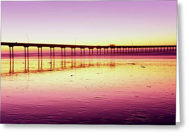Ocean Beach Pier At Sunset, San Diego Greeting Card by Panoramic Images