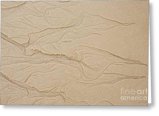 Ocean Sand Art Hearts Left Side Greeting Card by Iris Richardson