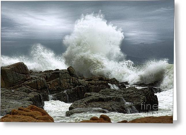Greeting Card featuring the photograph Tidal Leap by Glenda Wright