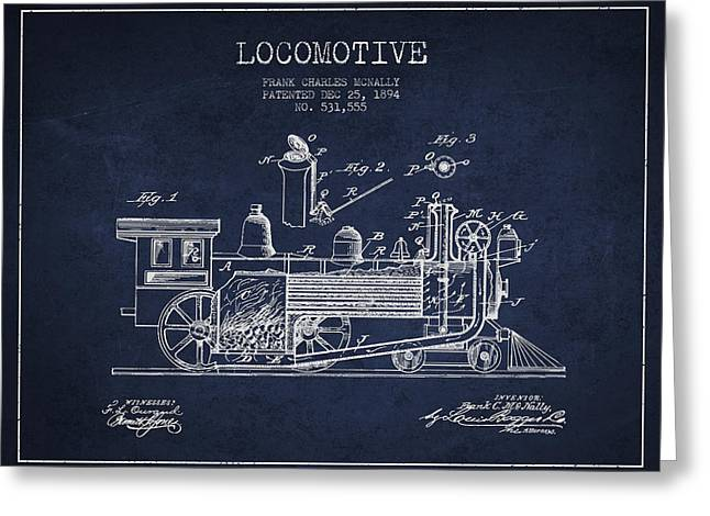 ocomotive Patent drawing from 1894 Greeting Card by Aged Pixel