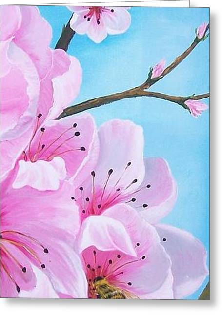 #2 Of Diptych Peach Tree In Bloom Greeting Card