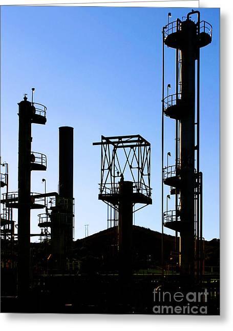 Oil Refinery Greeting Card by Henrik Lehnerer