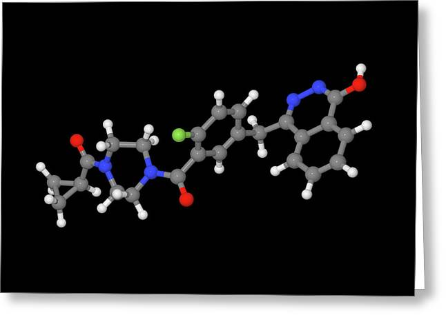 Olaparib Ovarian Cancer Drug Molecule Greeting Card by Dr Tim Evans