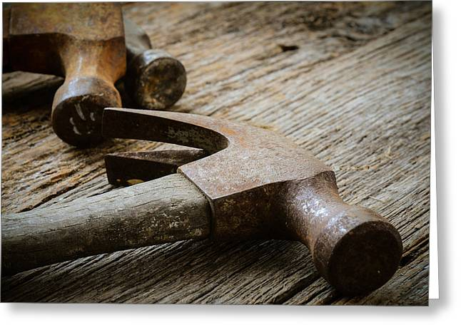 Old Hammers On Rustic Wood Background Greeting Card