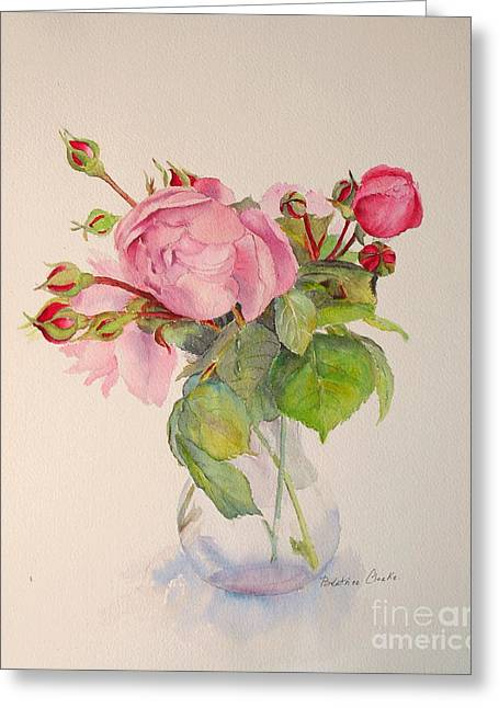 Greeting Card featuring the painting Old Roses by Beatrice Cloake