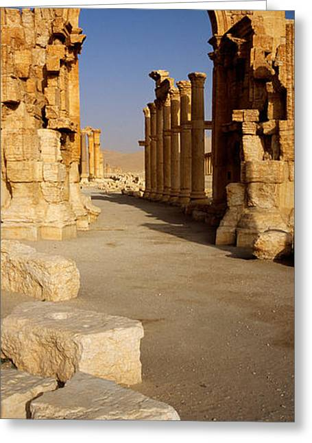 Old Ruins On A Landscape, Palmyra, Syria Greeting Card by Panoramic Images