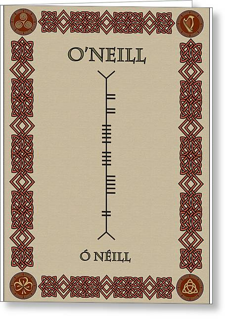 Greeting Card featuring the digital art O'neill Written In Ogham by Ireland Calling