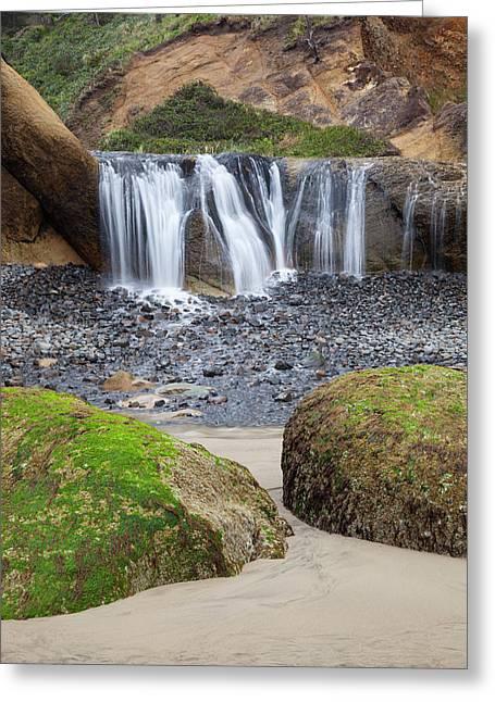 Or, Oregon Coast, Waterfall And Rocks Greeting Card