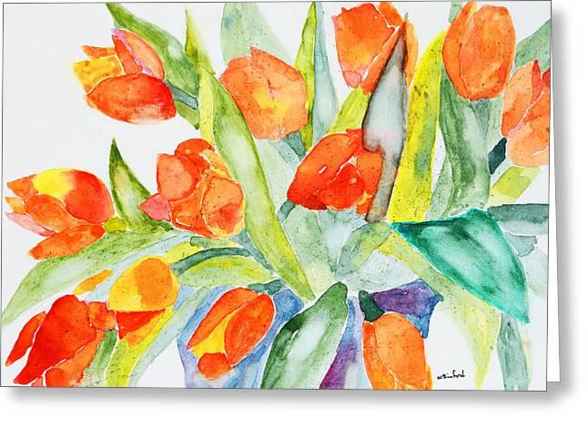 Orange Holland  Tulips Greeting Card