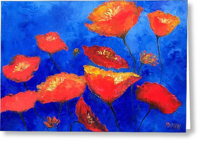 Orange Poppies Greeting Card by Jan Matson
