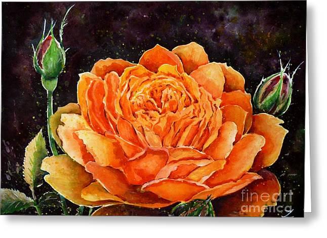 Orange Rose Greeting Card by Zaira Dzhaubaeva