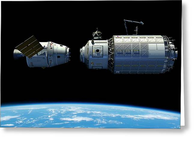 Orbital Maintenance Docking Greeting Card
