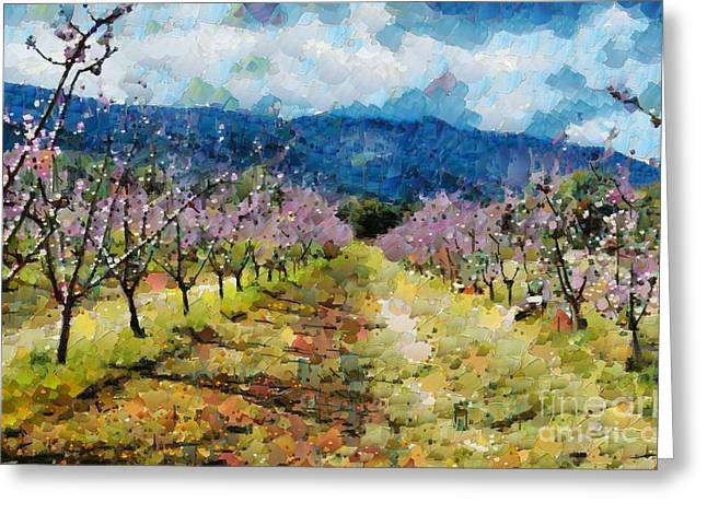 Greeting Card featuring the digital art Orchard Views by Fran Woods