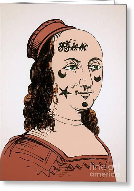 Ornamental Patches On Face 17th Century Greeting Card by Photo Researchers