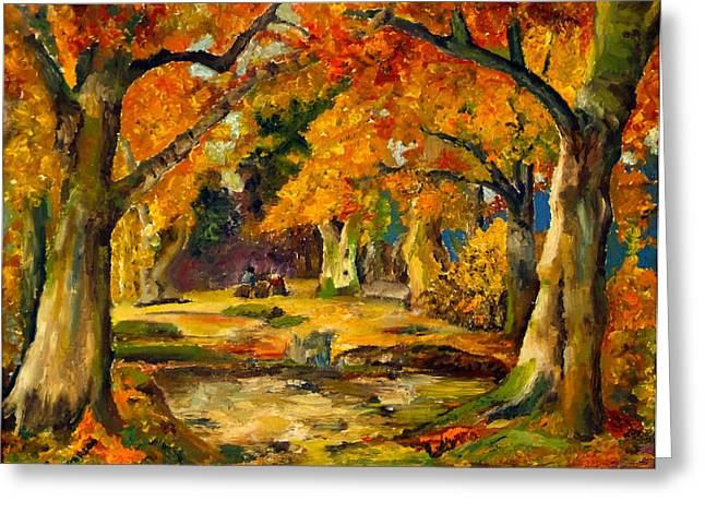 Greeting Card featuring the painting Our Place In The Woods by Mary Ellen Anderson