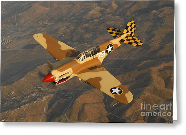P-40 Warhawk Flying Over Chino Greeting Card