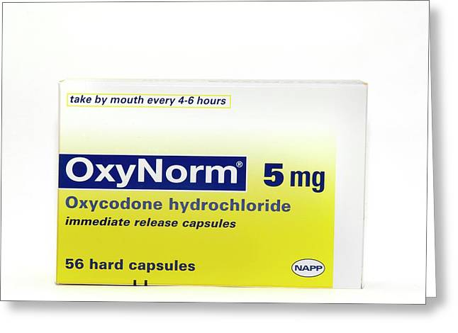 Pack Of Oxynorm Capsules Greeting Card by Dr P. Marazzi/science Photo Library