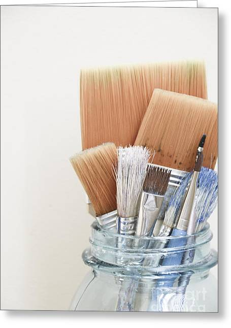Paint Brushes In Jar Greeting Card