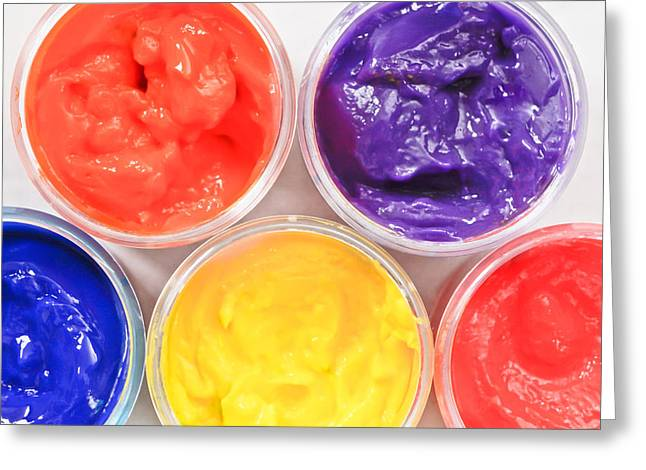 Paint Pots Greeting Card by Tom Gowanlock