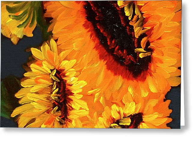 Painted Sunflowers Greeting Card by Diane Schuster
