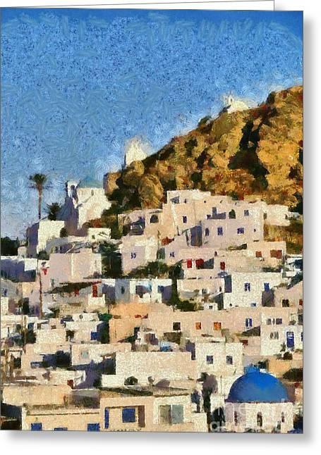 Painting Of Ios Town Greeting Card by George Atsametakis