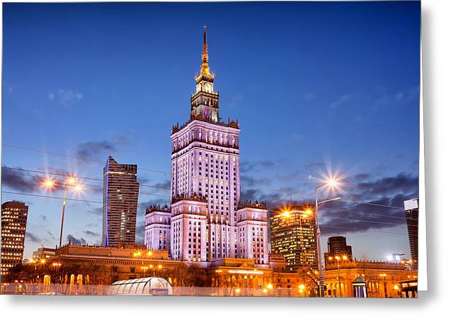 Palace Of Culture And Science At Dusk In Warsaw Greeting Card by Artur Bogacki