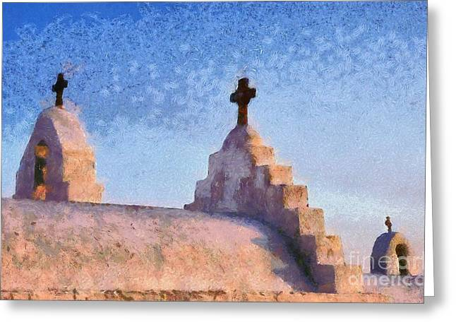 Panagia Paraportiani Church In Mykonos Island Greeting Card by George Atsametakis
