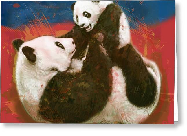 Panda Mum With Baby - Stylised Drawing Art Poster Greeting Card