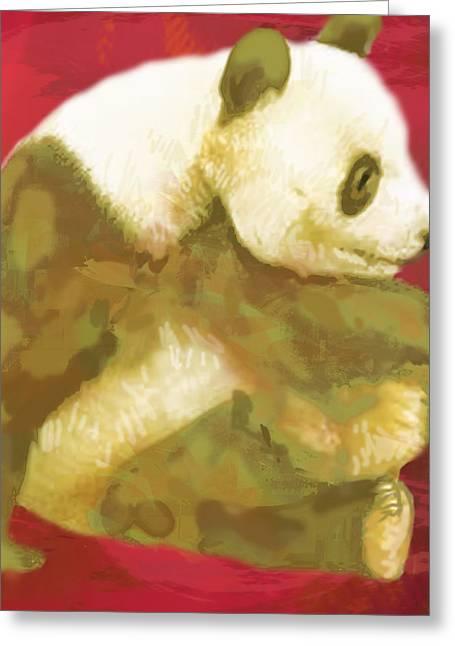 Panda - Stylised Drawing Art Poster Greeting Card by Kim Wang