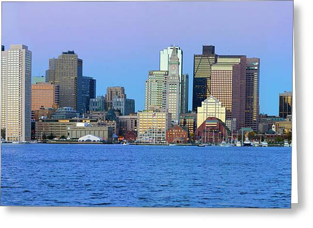Panoramic Of Boston Harbor Greeting Card