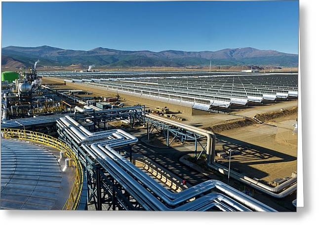 Parabolic Trough Solar Power Plant Greeting Card by Philippe Psaila