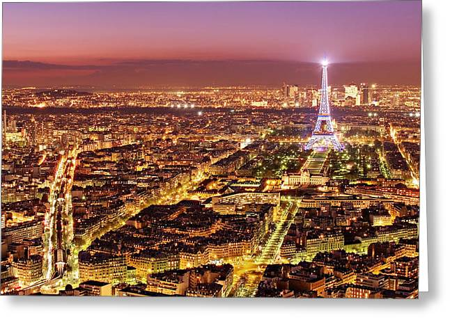 Paris Cityscape At Night / Paris Greeting Card