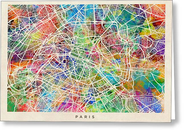 Paris France Street Map Greeting Card by Michael Tompsett