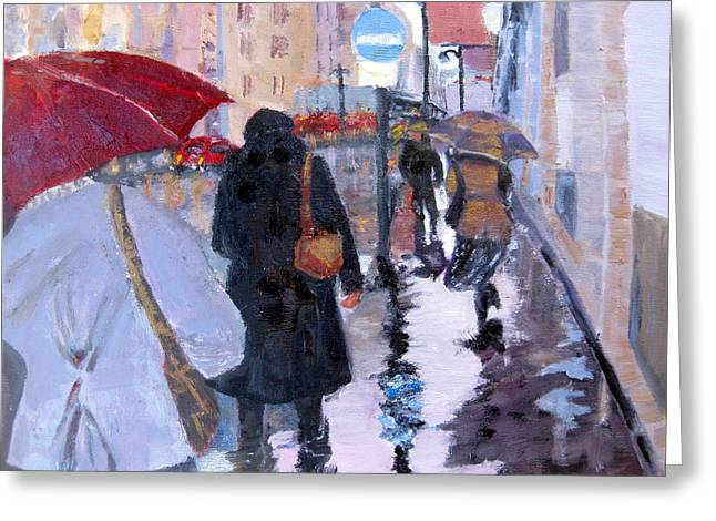 Paris In The Rain Greeting Card by MaryAnne Ardito