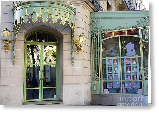 Paris Laduree Macaron French Bakery Patisserie Tea Shop - Champs Elysees - The Laduree Patisserie Greeting Card by Kathy Fornal