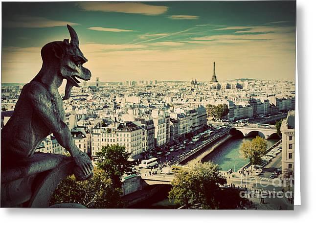Paris Panorama France Greeting Card by Michal Bednarek