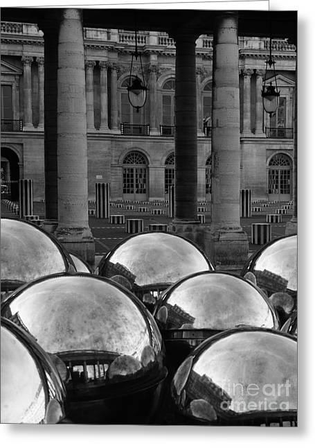 Paris Reflecting Balls In The Palais Royal Gardens Greeting Card by Design Remix