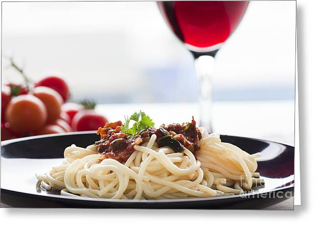Pasta Putanesca Greeting Card by Mythja  Photography