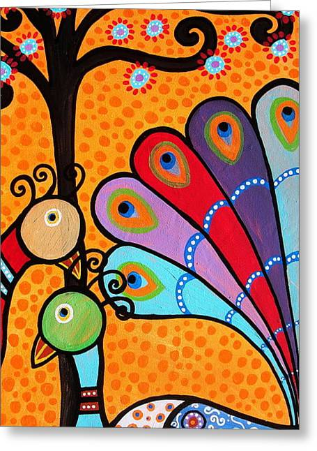 Greeting Card featuring the painting 2 Peacocks And Tree by Pristine Cartera Turkus